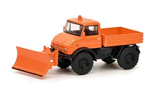 Schuco 452020200 - Unimog U406, Winterdienst mit Räumdienst, Modellauto, 1:64, orange