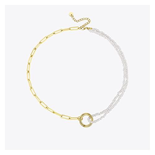 Collar de chicas Cadena de la vendimia con collares de perlas naturales Acero inoxidable Color de oro Collar Collar Collar de moda Joyería de moda accesorios de moda ( Metal Color : Gold color )