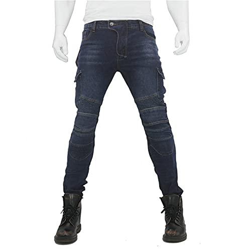 BEDSETS Schwarze Motorradhose mit Protektoren,Sportliche Motorrad Hose Mit Protektoren Motorradhose mit Oberschenkeltaschen (Blau,L)