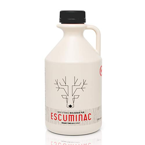 Escuminac Very Dark Canadian Maple Syrup Family Size 1L (33.8 fl oz) Canada Grade A - Strong Taste For Cooking Only – Pure, Organic, Single Origin, Unblended.