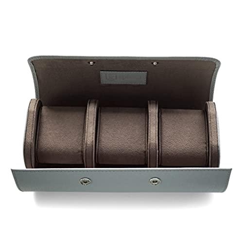 Luxuriöse Uhren-Rolle für 3 Uhren aus Italienischem Saffiano Leder grau handverarbeitete Reise-Uhrenbox Geschenk für Luxusuhrenliebhaber