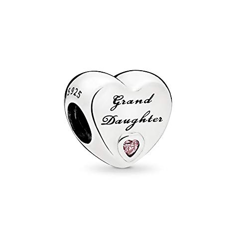 FGT Granddaughter Charm for Bracelet Pink Crystal Bead Sterling Silver Heart Charm for Girls Women Christmas Birthday Gift for Her