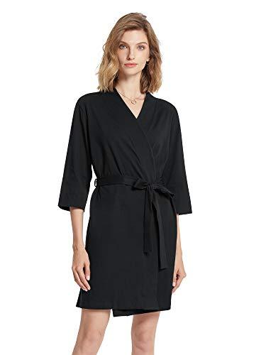 SIORO Black Robe Women Cotton Lightweight Kimono Robes Knit Summer Bathrobe Soft Nightwear 3/4 Sleeves Hospital Maternity Loungewear Sexy Sleepwear Short for Ladies, Black, Small