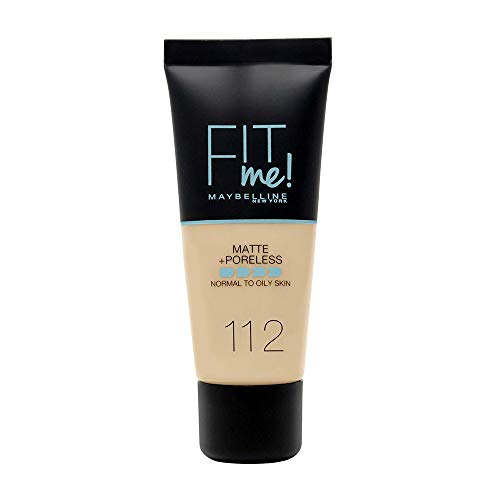 Maybelline New York Fondotinta Fit Me Matte&Poreless, Finish Opacizzante e Fissante, Tonalità: 112 Soft Beige