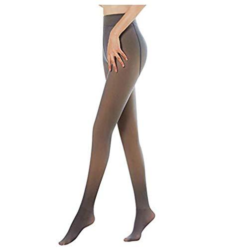 Zooarts Perfect Slimming Legs Fake Translucent Warm Fleece Pantyhose - Damen Strumpfhosen, wärmende Thermostrumpfhose für Damen (Black, 320g)