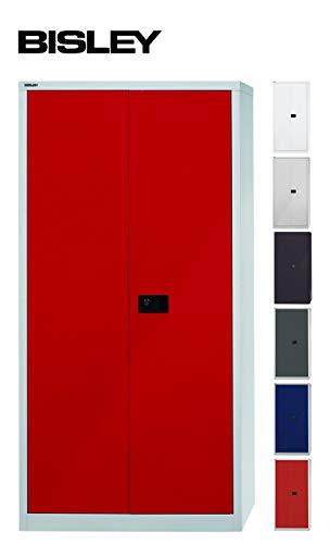 BISLEY Aktenschrank | Werkzeugschrank | Flügeltürenschrank aus Metall abschließbar inkl. 4 Einlegeböden | Stahlschrank in Lichtgrau/Kardinal Rot