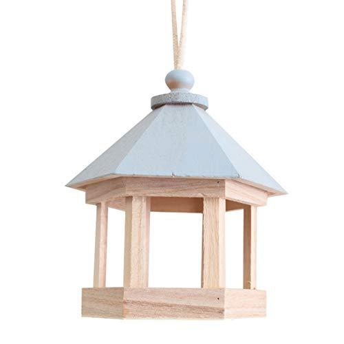 GAODINGD Comederos para pájaros Birdhouse de Madera Colgando Aves Silvestres Feeder Herramienta de alimentación para Aves Silvestres Jardín al Aire Libre en Interiores