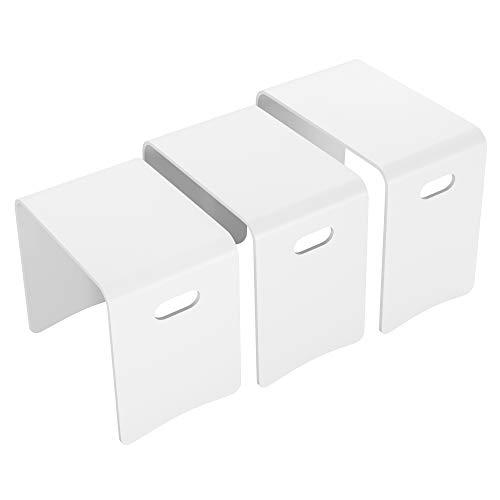 Homfa 3X Beistelltisch Satztische 3 Stück Couchtische Nachttische Sofatisch Kaffeetisch Anstelltisch Tischset Schuhbank Wohnzimmertisch aus Massivholz weiß