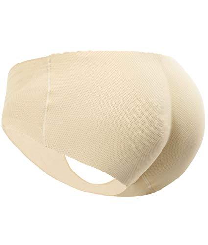 Everbellus Women's Padded Seamless Butt Hip Enhancer Panties Boy Shorts Beige M