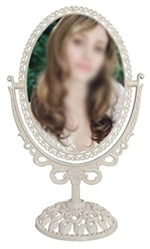 Espejo de Maquillaje de Escritorio Retro Espejo de tocador de Lupa Giratorio Oval Giratorio Espejo cosmético de Doble Cara Espejo de vanidad (Color : White)