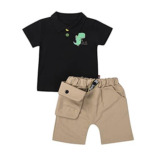 Loalirando Juego de camiseta de manga corta y pantalones cortos para niño, juego de 2 piezas, camisetas con impresión de dinosaurio para la playa Dinosaurio negro 2-3 años