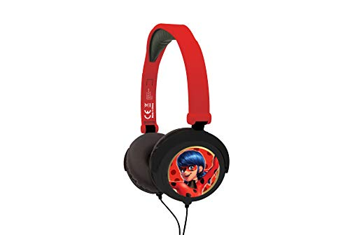 Miraculous Ladybug HP015MI, Auriculares Estéreo Plegables, con Cable, 18.1 x 16.1 x 7.4 cm, Rojo