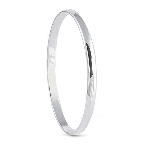 6MM Wide Polished Slip-On Round Bangle Bracelet for Women/Teenager/Girls - 925 Sterling Silver - Diameter: 70mm