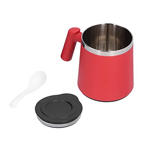 Les-Theresa Frühstückstasse 420ml Edelstahl Kaffeetasse Frühstückstasse Kaffee Milchbecher für Home Office Camping(rot)
