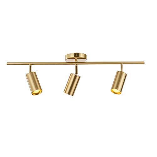 Modo Lighting Adjustable Track Lighting 3 Lights Brulshed Brass Flush Mount Ceiling Light Fixture afor Kitchen Dining Room Spotlight