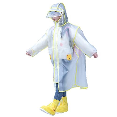 GDSSX Niños Capa de Lluvia Transparente Impermeable a Prueba de Viento Lluvia Ligera a Prueba de Viento Poncho para niños niñas Poncho de Emergencia (Color : Yellow, Size : XL)