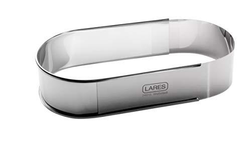 Lares - Backform/Backrahmen - aus rostfreiem Edelstahl - oval, in Folie - extra breit - verstellbare Länge - Made in Germany