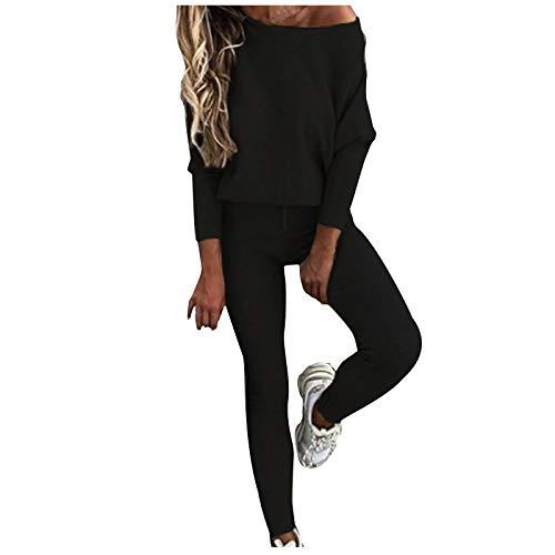 MEITING Damen 6-teiliges Set Strickanzug Pullover Anzug Langarm Schulterfrei Gestrickt Oberteile und Hosen Zweiteilige Strickpullover Sportanzug Trainingsanzug