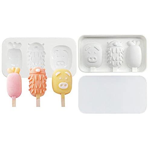 douzxc Mini moldes de helado para hornear, moldes de silicona para paletas, molde para pasteles, para paletas de hielo DIY, lindos cubitos de hielo de múltiples formas
