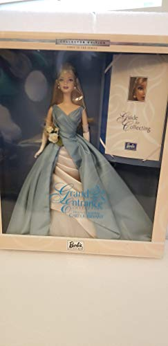 MATTEL BARBIE poupée blonde grand entrance collection original design by CARTER BRYANT - ROBE ELLEGANTE BLEU ET BLANCHE - + guide to collection - 2000