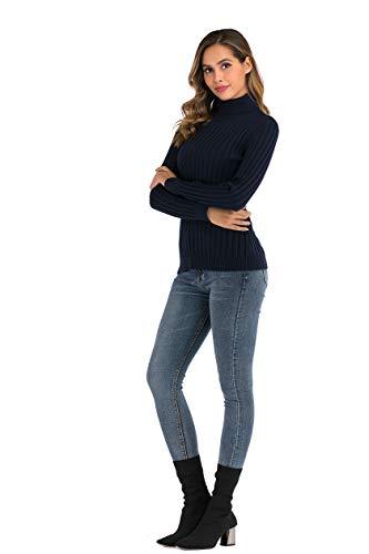 Enjoyoself Damen Gerippter Rollkragenpullover Feinstrick Elegant Langarm Strickpulli Stretch Warmer Winter Rolli