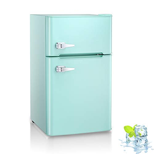 Kismile Double Door 3.2 Cu.ft Compact Refrigerator with Top Door Freezer,Freestanding mini Fridge with Adjustable Temperature,Upright Freezer for Apartment,Home,Office,Dorm or RV (Green)