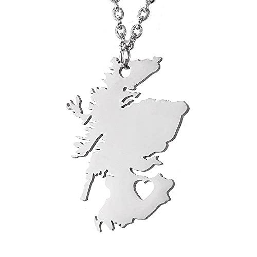 Collar de acero inoxidable con mapa de Escocia de amor hueco colgante de plata creativo para Scot P168