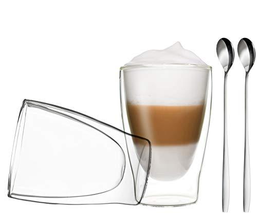DUOS 2X 310ml doppelwandige Gläser + 2 Löffel - Set Thermogläser mit Schwebe-Effekt, auch für Tee, Eistee, Säfte, Wasser, Cola, Cocktails geeignet by Feelino