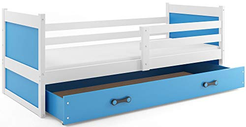 Interbeds Children's single bed RICO 190 x 90 white + variations, wooden slatted base, without mattress (Blue)