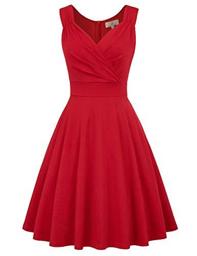 Kleider cocktailkleider rot Elegante Kleider a Linie Rockabilly Kleider Vintage Kleid CL698-5 XL