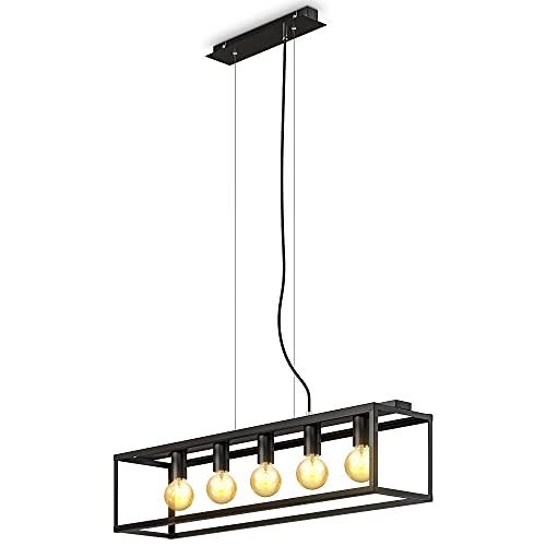 B.K.Licht Lampada a sospensione con 5 punti luce, attacco per lampadine E27 non incluse, Lampadario da soffitto regolabile in altezza a parallelepipedo in metallo nero opaco per cucina, 92x20x120cm