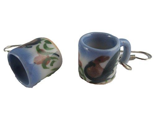 Ohrringe Schmuck Ohrhänger Hänger weiß mit Hahn / Huhn Tasse Becher Tee Kaffee Porzellan Mug 2781
