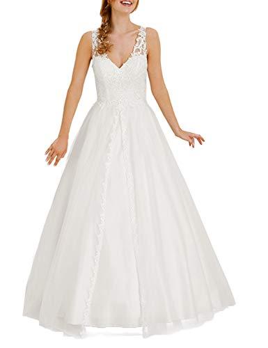 HUINI Brautkleid Spitze Hochzeitskleid Prinzessin Lang Tüll Brautmode Kleid Standesamtkleid Rückenfrei Elfenbein 44