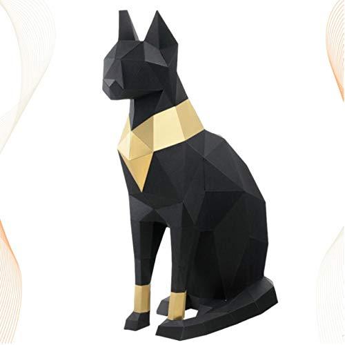 Decoraciones Arte Gato Egipcio Modelo De Papel Estereoscópico 3D DIY Adornos De Decoración Moldeados A Mano Juguetes Origami Geométrico Tridimensional Negro