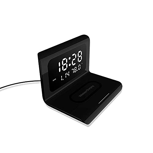 Reloj de Alarma Digital con Cargador inalámbrico, Plegable, luz de Noche, luz de Noche, Reloj de Pantalla LED de atenuación-Negro