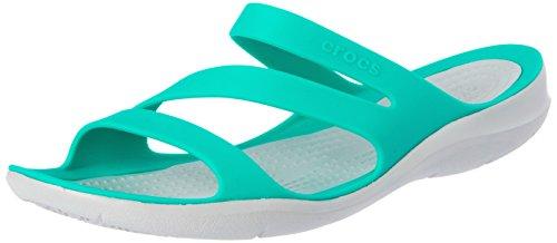 Crocs Women's Swiftwater Sandal Slide, tropical teal/light grey, 4 M US