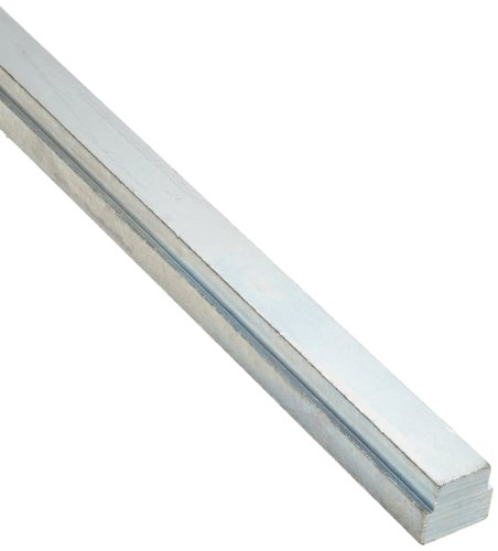 "Steel Step Key Stock For Gears, Zinc Plated, 3/8"" Thickness, 1/2"" Width, 3/8"" Base Width, 12"" Length (Pack of 1)"