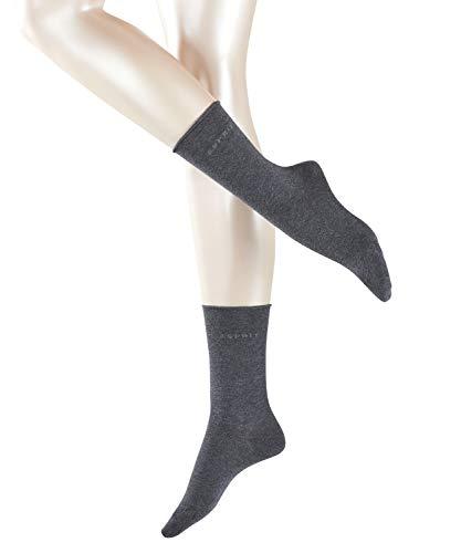 ESPRIT Damen Socken Basic PURE 2er Pack - 91% Baumwolle , 2 Paar, Grau (Anthracite Melange 3080), Größe: 35-38