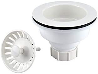 Plumb Pak K1442WH Deep Cup Plastic Sink Strainer with Fixed Post Basket, White