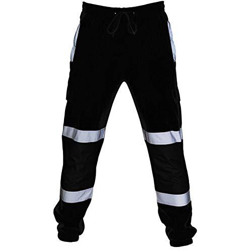 Pantalones Casuales para Hombre, Pierna Recta, Ajuste Holgado, Costuras Europeas y Americanas, Pantalones Cargo con Rayas Reflectantes Plateadas Large