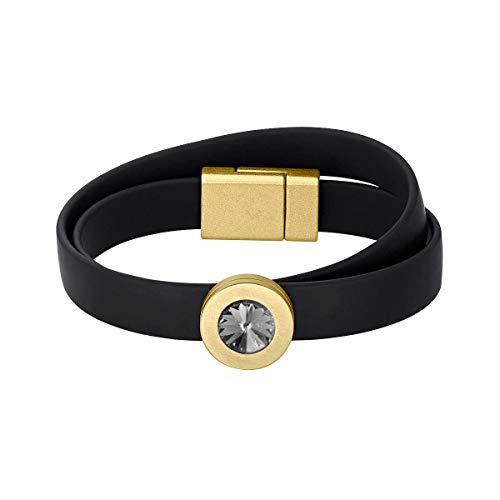 Heideman Armband Damen Colori Band schwarz-Gold 2 Fach aus Edelstahl schwarz und Gold farbend matt Armkette für Frauen mit wechselbaren Swarovski Kristall Peridot und Weiss oder bunt
