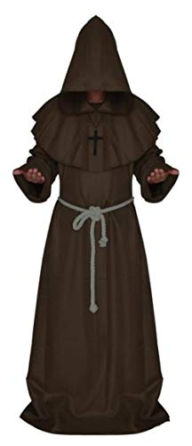 SHOUSBOXHI Middeleeuwse Monnik Halloween Kostuums Comic Con Party Cosplay Kostuum Hooded Robes Mantel Cape Friar Renaissance Priest Voor mannen, Koffie, XL