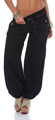 Malito Bombacho clásico Design Boyfriend Aladin Harem Pantalón Sudadera Baggy Yoga 3417 Mujer Talla Única (Negro)