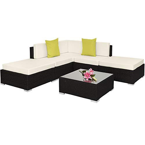 TecTake 800888 Aluminium Polyrattan Lounge, Sitzgruppe mit Glastisch, Sofa Tisch Set, für Garten, Balkon und Terrasse, inkl. Kissen (Schwarz | Nr. 403830)