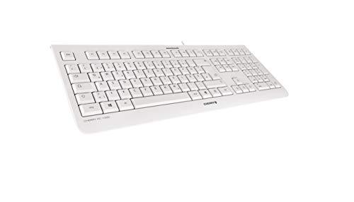"""CHERRY KC 1000 - USB Tastatur - Flaches Design - Kabelgebunden - """"der Blaue Engel"""" - GS-Zulassung - QWERTZ Business-Tastatur - Deutsches Layout - Weißgrau"""