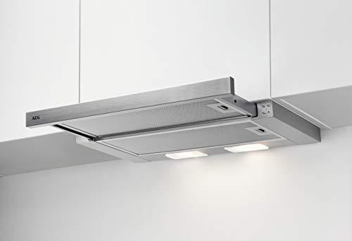 AEG DPS262AS Flachschirm-Dunstabzugshaube/Abluft oder Umluft / 60cm / Silberfarben/max. 120 m³/h/min. 68 – max. 72 dB(A) / D/Kurzhubtasten