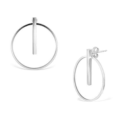 WithLoveSilver - Pendientes de plata de ley 925, diseño de círculo geométrico, redondos y rectangulares, para oreja