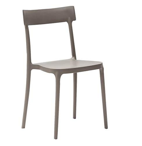 LoryArreda.Com Outlet connubia 4 sillas Argo CB/1523 Calligaris Blanco Óptico Mate y Pardo Polipropileno Apilable para Cocina Comedor jardín Bar Restaurante (Blanco Óptico Mate): Amazon.es: Hogar