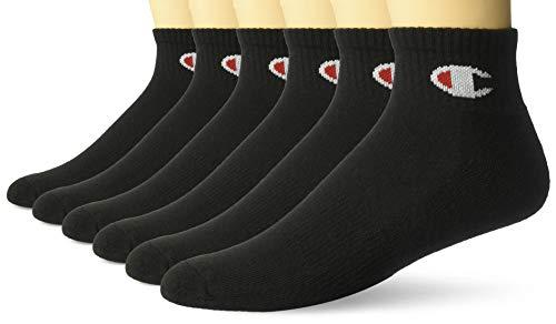Champion Men's Double Dry Moisture Wicking Logo 6-Pack Ankle Socks, black,...