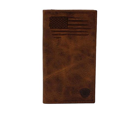 Ariat Men s Brown USA Flag Rodeo Style Leather Wallet